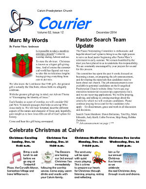 calvin-courier-newsletter-december-2014