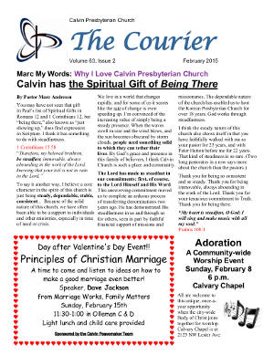 calvin-courier-newsletter-february-2015