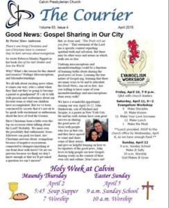 Calvin Courier Newsletter Apr 2015